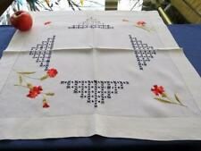 "Antique Linen Society Hand Embroidery 23""sq Tea Cloth Centerpiece Red Carnations"