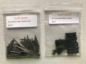 100 Pins,50 White Locks//Connectors New Aurora Tjet Track
