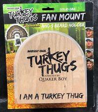 Quaker Boy Mossy Oak Turkey Thugs Solid Oak Fan Mount and 5 Beard Holder New
