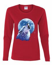Call of the Wild Women's Long Sleeve Tee Lone Wolf Howling at the Moon Wildlife