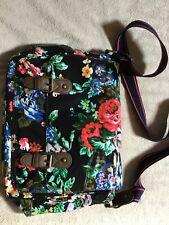 accessorize satchel, black & floral print, navy & pink strap excellent condition