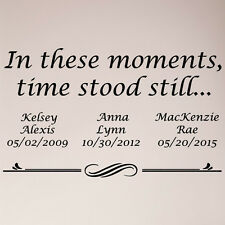 "38"" Personalized In These Moments Time Stood Still Custom Wall Decal Sticker"