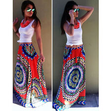 Sexy Thailand Women's Paisley Printed Long Maxi Dress Boho High Waistband Skirts