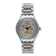 Swatch Uncle Charly YAS112G Analog Gent Skeleton Grey Dial Stainless Steel Watch