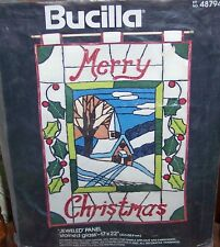 "Bucilla ""MERRY CHRISTMAS STAINED GLASS"" Jeweled Panel Felt  Kit  Vntg Church MIP"