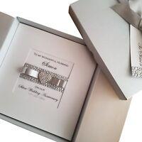LUXURY Handmade Personalised Boxed Silver Wedding Anniversary Card Wife Husband