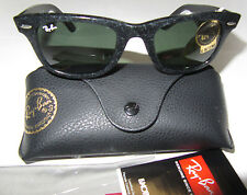 RayBan Wayfarer Distressed RB2140 1184 Sunglasses 50mm Black Green G-15 NWT $165