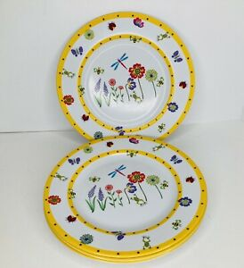 """Set of 4 Beautiful Melamine Dinner Plates 10 1/4"""" Flowers Bees Dragonfly Yellow"""