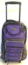 "20"" Purple Large Rolling Backpack Wheeled School Bookbag Travel Carry-On Bag"