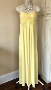 NWT! Studio M Spaghetti Strap Snapdragon Yellow Knit Maxi Dress ~ Women's Small