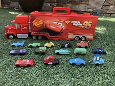 Disney PixarCars Mini Racers Mack truck Transporter w/ McQueen And 13 Others