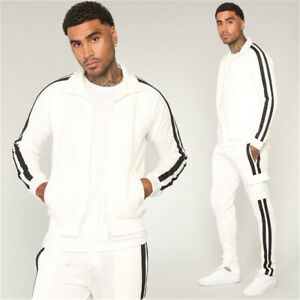 Mens Sports Tracksuit 2 Piece Hip Hop Pants jackets Sweatsuit Sweatshirt Set
