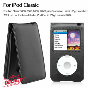 Black Leather Case Cover for Apple iPod Classic 6th 7th 80 120 160GB Video 30GB