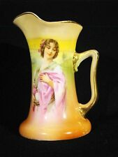 "Royal Bayreuth Porcelain Portrait Jug Vase Woman w/ Pink Wrap 5""h"