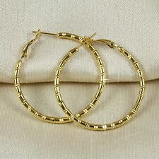 E11 18K Yellow Gold Filled 4cm Bamboo Hoop Creole Earrings - Gift Pouch
