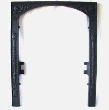ANTIQUE VICTORIAN TORCH FLORAL BEAD CAST IRON FIREPLACE FIRE DOOR FRAME SURROUND