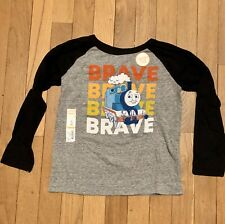 NWT Boys Size 5T Thomas The Train & Friends Long Sleeve T Shirt Tee Gray Brave