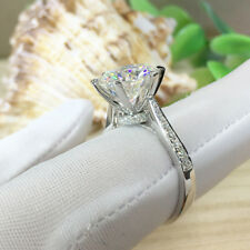 3Ct 9mm Df Round Real Moissanite Engagement Ring Simulate Diamond 14K White Gold