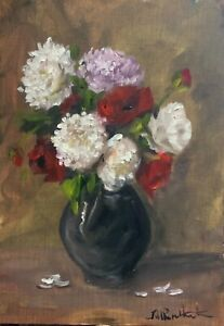 Original oil painting art floral vintage style shabby chic vase of red poppies