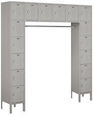 "Salsbury Metal Locker Six Tier Box Style Bridge 16 Box 18"" Deep Gray 66016GY-U"