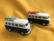 Lot of 2 vintage look surf minivan surfing toy miniature Vw bus
