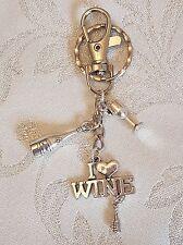 'I love Wine' Bottle Goblet Key Ring Bag Charm Bar Maid Gift Stocking Filler