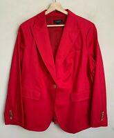 Talbots Woman Classic Jacket Red Button Pockets Lined Cotton Blend Size 16W