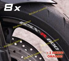 KIT 8 ADESIVI + OMAGGIO CERCHI MOTO STRISCE RUOTE SUZUKI GSXR GSX-R 600 BICOLORE