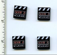 LEGO x 4 Black Tile 2 x 2 with Scene 3 and White Stripes Pattern NEW Studios