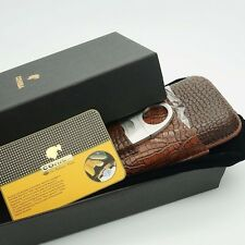 Cohiba 3 Tube Crocodile Embossed Brown Leather Cigar Case Travel Holder w/Cutter
