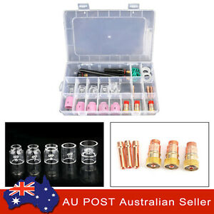 31PCS TIG Welding Torch Stubby Gas Lens Pyrex Glass Cup Kit Fits for WP-17/26