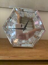 Hexagonal Mirror Crystal Clock. Hexagon Clock.