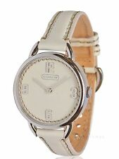 BRAND NEW WOMENS COACH (14501806) OVERSIZED WHITE LEATHER STRAP WATCH