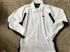 Mens Shirt Under Armour size Large white Long Sleeve Collared Polo Top (ln74)