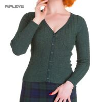 Hell Bunny Ladies 50s V Knit Cardigan Top PIAF Sparkle Vintage Green All Sizes