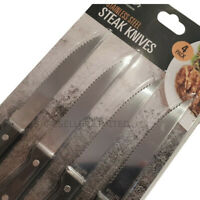 4 x Steak Knives Cutting Kitchen Wooden Handle Serated Stainless Steel Cutlery
