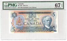 Canada $5 Dollars Banknote 1979 BC-53b PMG Superb GEM UNC 67 EPQ