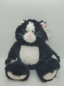"GANZ 14"" Plush FLOPPY FRIEND CAT Black White H11809 Pink Ears Stuffed Animal GUC"