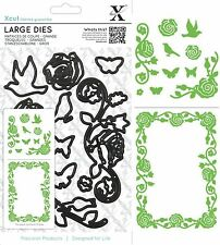 DOCRAFTS XCUT LARGE CUTTING DIES ROSE FLOURISHES MAKE BORDERS BIRDS - NEW