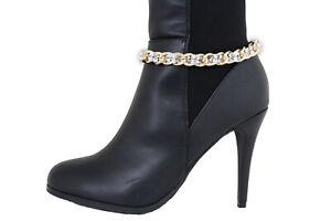 Women Gold Metal Chain Boot Bracelet Western Shoe Charm Anklet Silver Mesh Beads