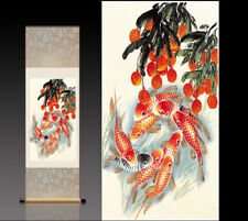 Chinese Silk Scroll Painting Litchi Fish Home Office Decoration(荔枝九鱼图)