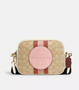 NWT Coach Dempsey Camera Bag In Signature Jacquard With Stripe And Coach Patch