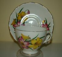 Tea Cup & Saucer Royal Vale Bone China Made in England Pink & Yellow Lilies