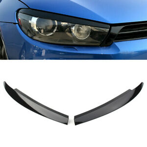 Glossy Black For VW Scirocco 2009 - 17 Head Light Lamp Eyebrow Eyelid Cover Trim