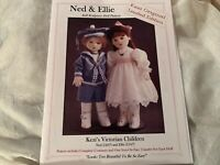 KEZI Victorian Ned & Ellie Soft Sculpture Doll & Outfit Patterns, Face Transfers