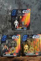 1996 Kenner Star Wars POTF DELUXE FIGURE LOT  Han Solo Stormtrooper Skywalker