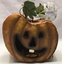 Halloween Hanging Pumpkin Candle Holder Tea Light Metal Jack o lantern Fall