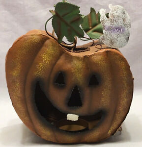 Halloween Hanging Pumpkin Candle Holder Tea Light Metal Jack o lantern Fall
