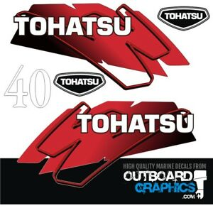 Tohatsu 40hp 2 stroke outboard engine decals/sticker kit