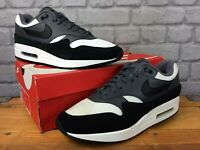 NIKE MENS UK 9 EU 44 AIR MAX 1 BLACK GREY WHITE TRAINERS RRP £145